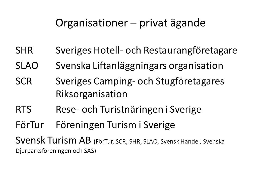Organisationer – privat ägande