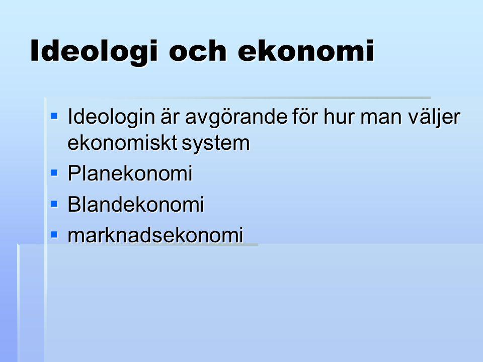 Ideologi och ekonomi Ideologin är avgörande för hur man väljer ekonomiskt system. Planekonomi. Blandekonomi.