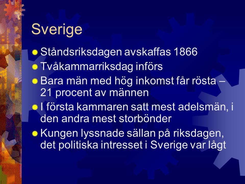 Sverige Ståndsriksdagen avskaffas 1866 Tvåkammarriksdag införs