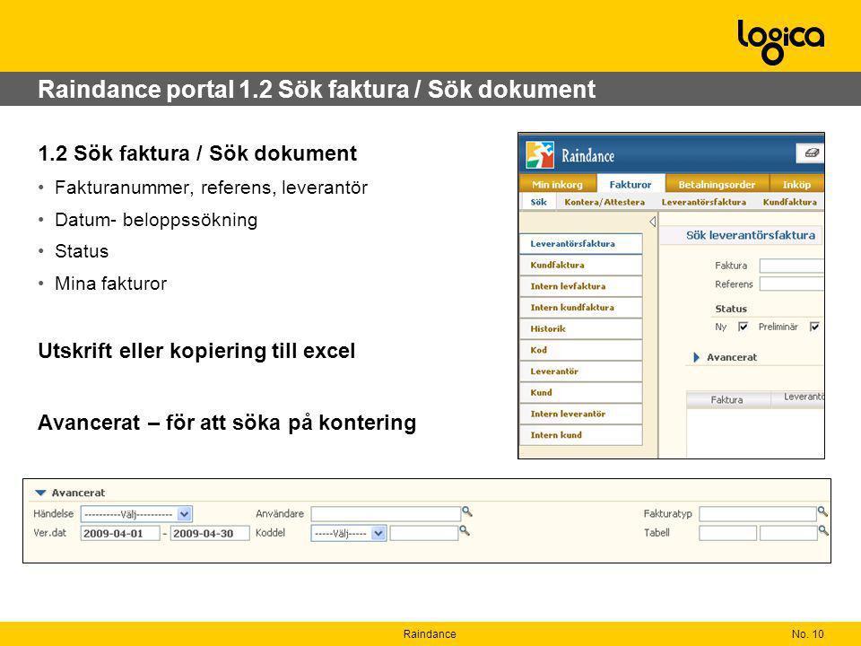 Raindance portal 1.2 Sök faktura / Sök dokument