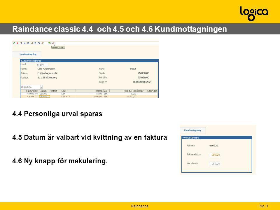 Raindance classic 4.4 och 4.5 och 4.6 Kundmottagningen