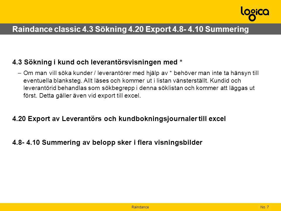 Raindance classic 4.3 Sökning 4.20 Export 4.8- 4.10 Summering