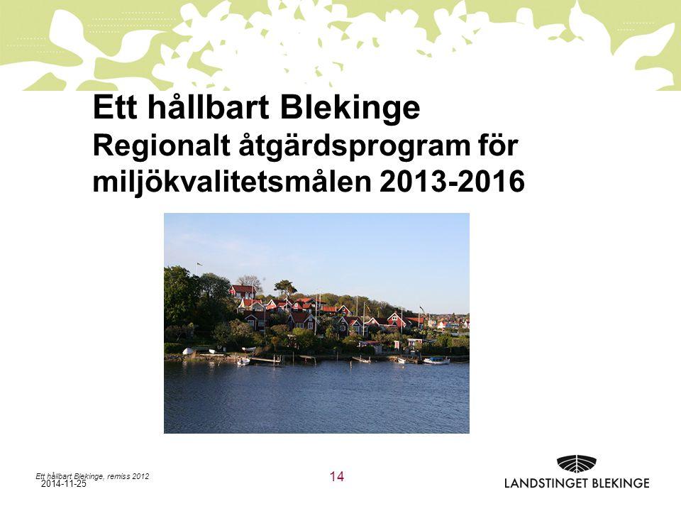 Ett hållbart Blekinge Regionalt åtgärdsprogram för miljökvalitetsmålen 2013-2016
