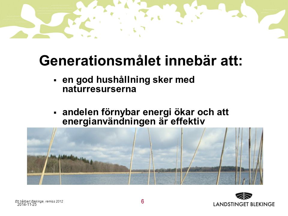 Generationsmålet innebär att: