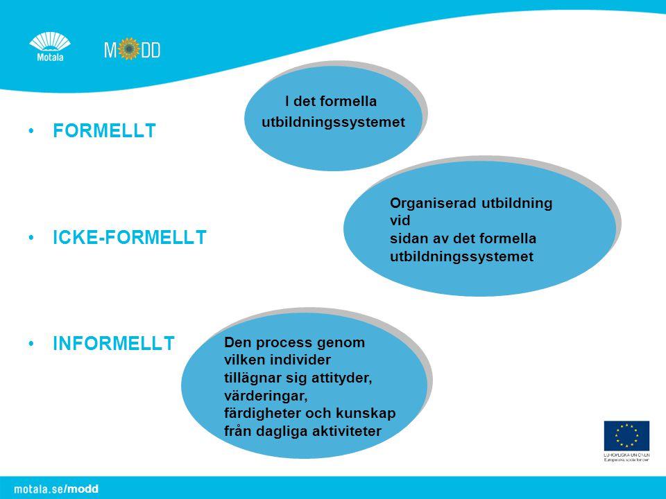 FORMELLT ICKE-FORMELLT INFORMELLT I det formella utbildningssystemet
