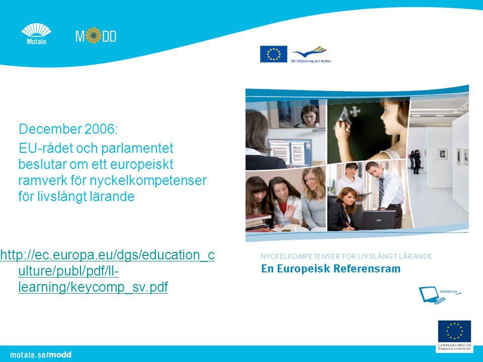 December 2006: EU-rådet och parlamentet beslutar om ett europeiskt ramverk för nyckelkompetenser för livslångt lärande.