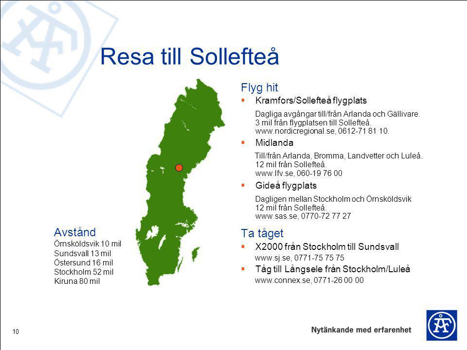 Resa till Sollefteå Flyg hit Ta tåget Avstånd