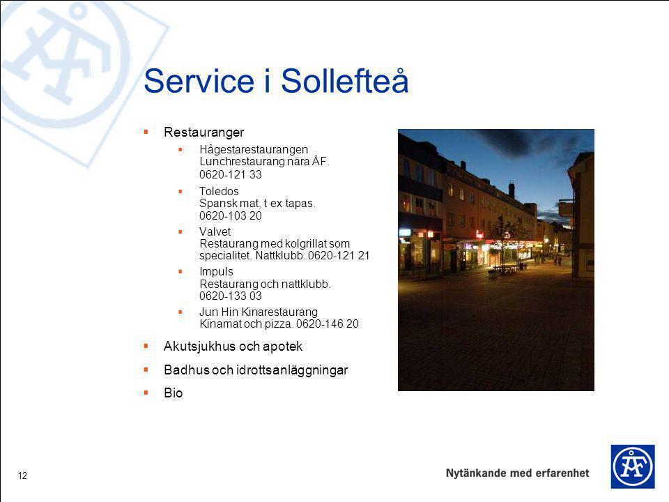 Service i Sollefteå Restauranger Akutsjukhus och apotek