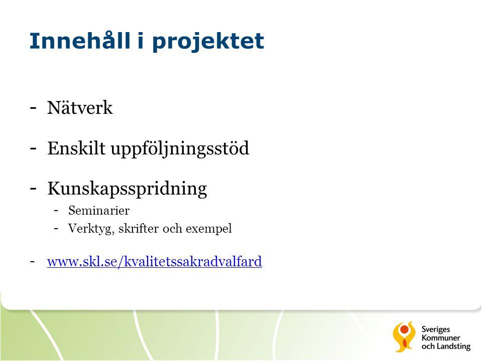 Innehåll i projektet Nätverk Enskilt uppföljningsstöd