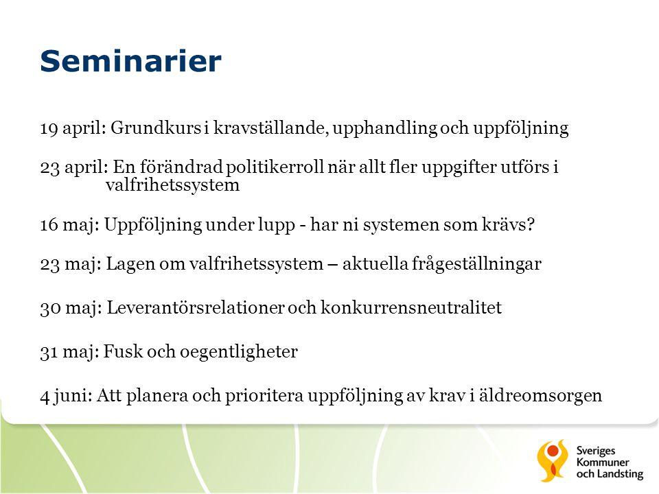 Seminarier 19 april: Grundkurs i kravställande, upphandling och uppföljning.