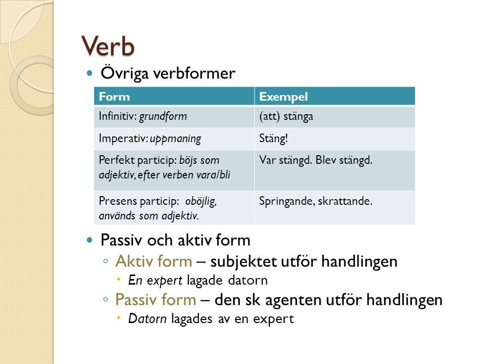 Verb Övriga verbformer Passiv och aktiv form