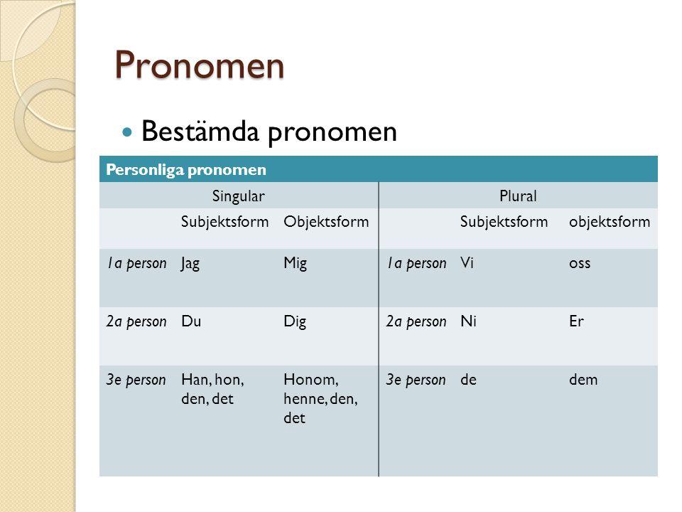 Pronomen Bestämda pronomen Personliga pronomen Singular Plural