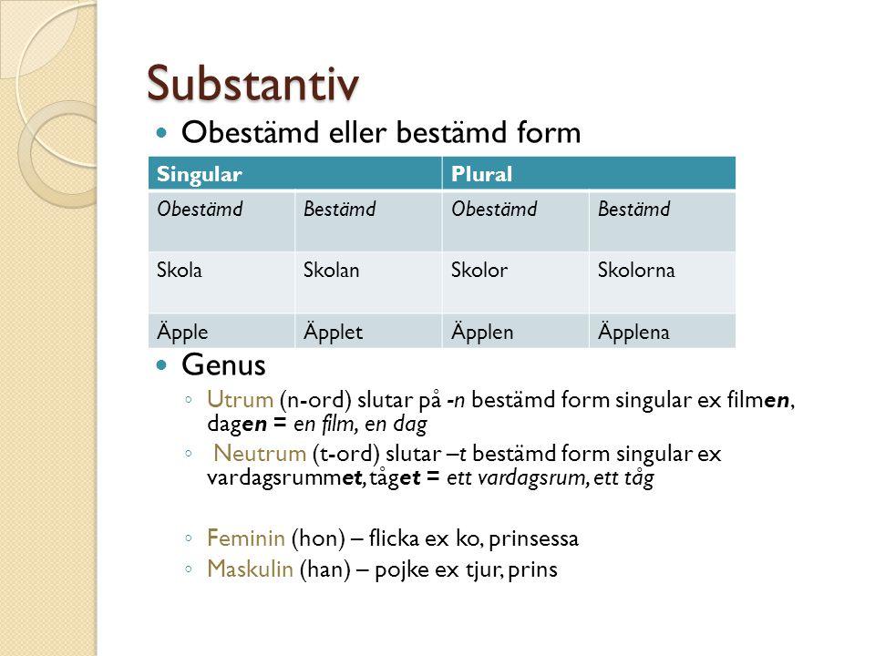 Substantiv Obestämd eller bestämd form Genus