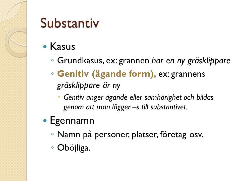 Substantiv Kasus Egennamn