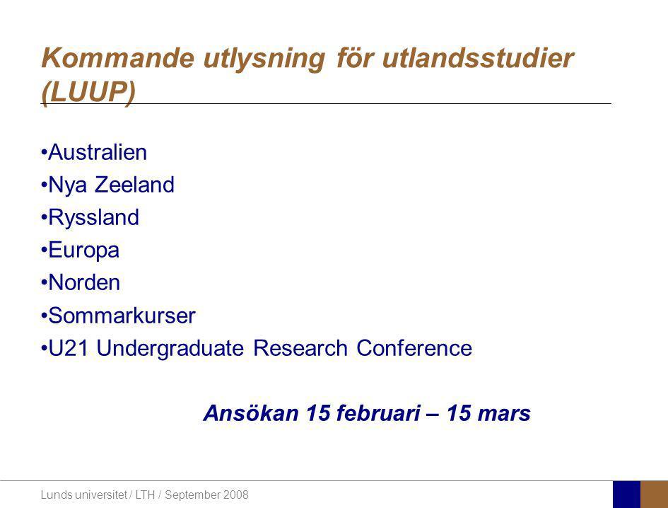 Kommande utlysning för utlandsstudier (LUUP)