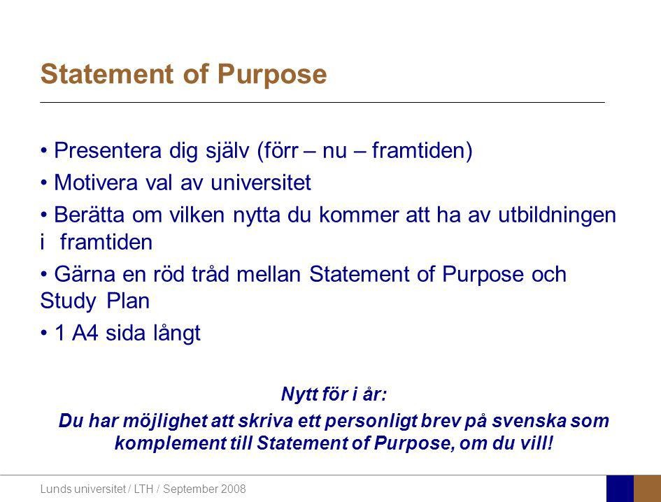 Statement of Purpose Presentera dig själv (förr – nu – framtiden)