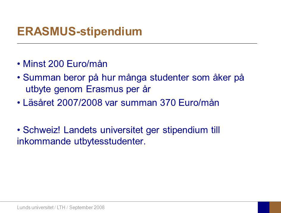 ERASMUS-stipendium Minst 200 Euro/mån