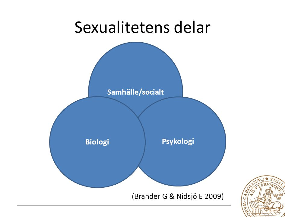Sexualitetens delar Samhälle/socialt Biologi Psykologi