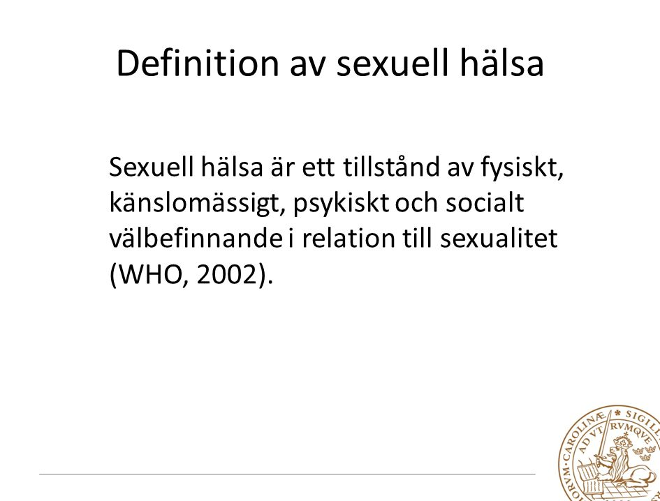 Definition av sexuell hälsa