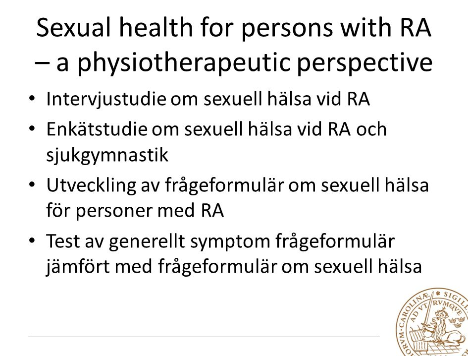 Sexual health for persons with RA – a physiotherapeutic perspective