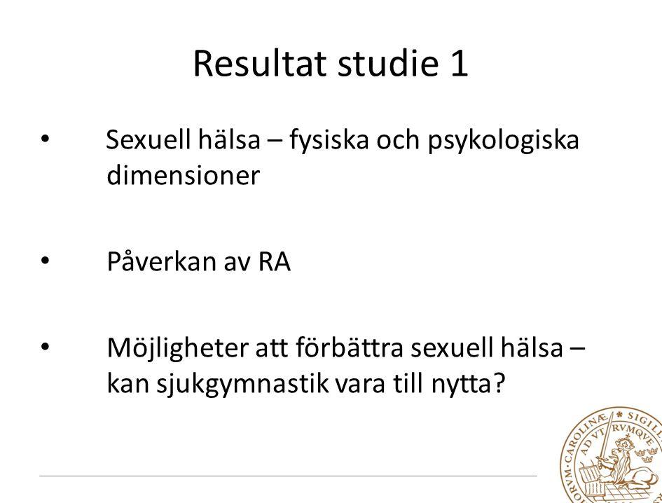 Resultat studie 1 Sexuell hälsa – fysiska och psykologiska dimensioner