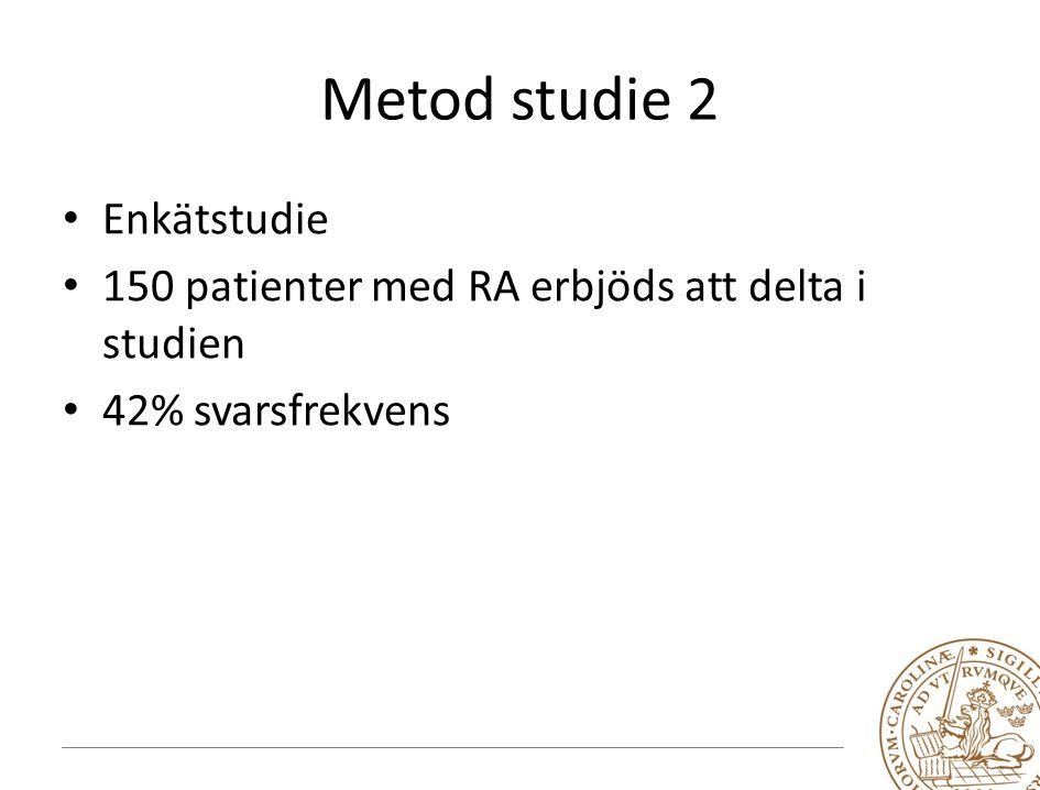 Metod studie 2 Enkätstudie