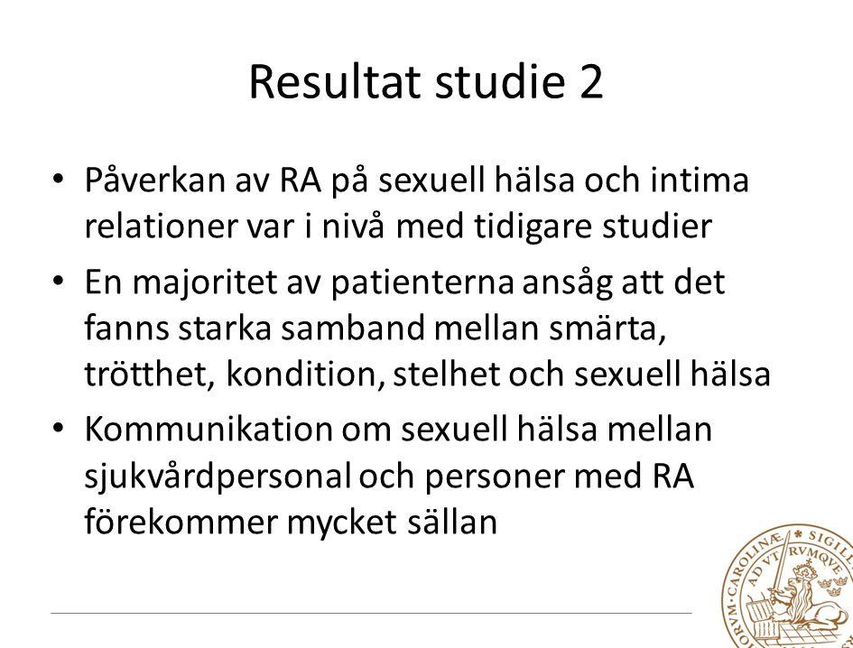 Resultat studie 2 Påverkan av RA på sexuell hälsa och intima relationer var i nivå med tidigare studier.