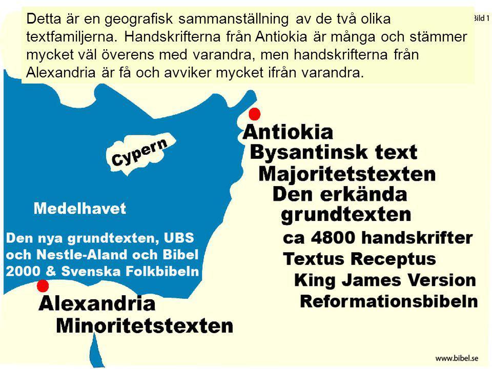 Detta är en geografisk sammanställning av de två olika textfamiljerna