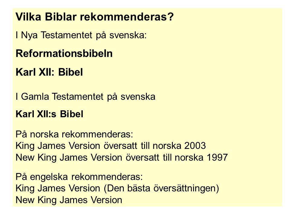 Vilka Biblar rekommenderas