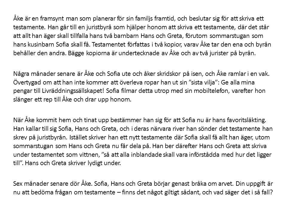 Åke är en framsynt man som planerar för sin familjs framtid, och beslutar sig för att skriva ett testamente.
