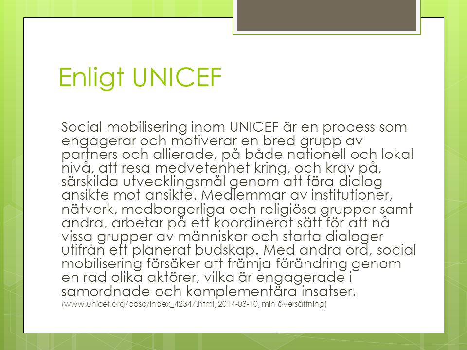 Enligt UNICEF