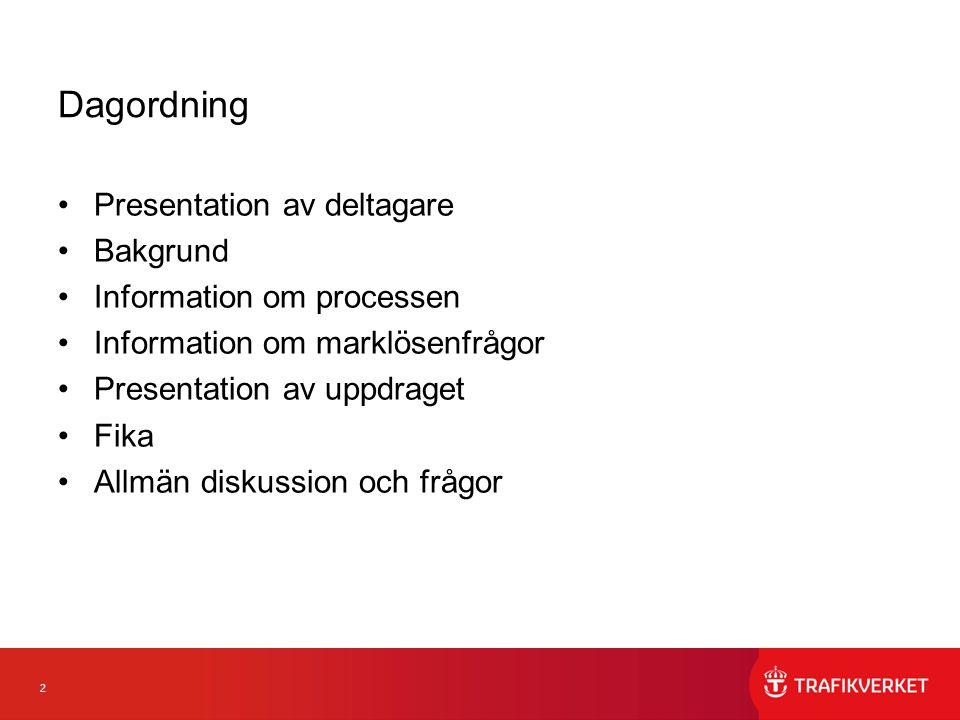 Dagordning Presentation av deltagare Bakgrund Information om processen
