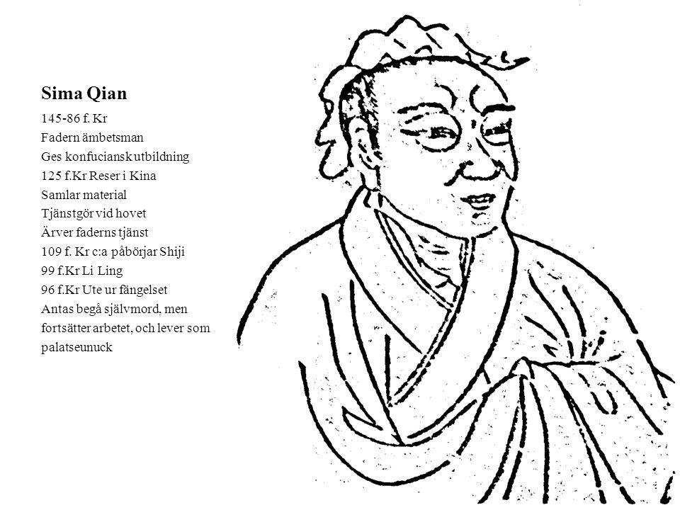 Sima Qian 145-86 f. Kr Fadern ämbetsman Ges konfuciansk utbildning