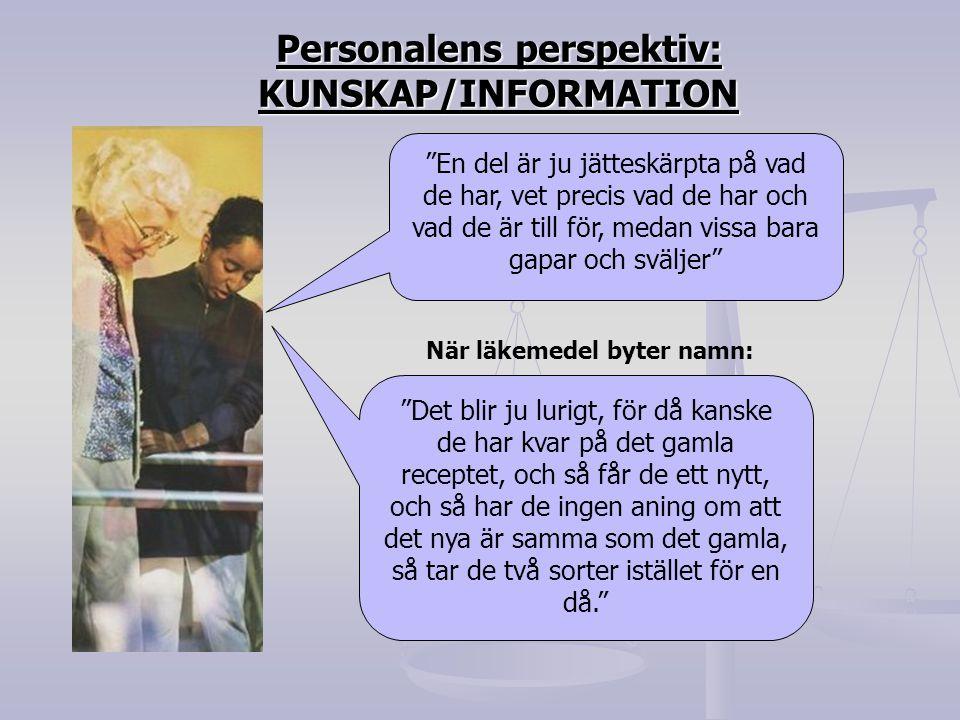 Personalens perspektiv: KUNSKAP/INFORMATION När läkemedel byter namn: