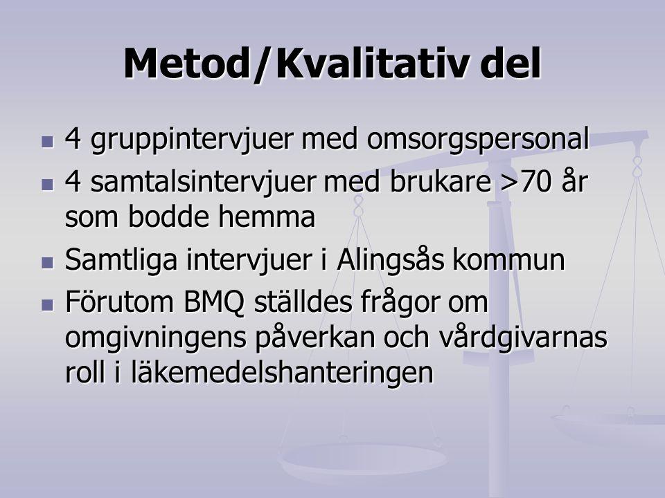 Metod/Kvalitativ del 4 gruppintervjuer med omsorgspersonal