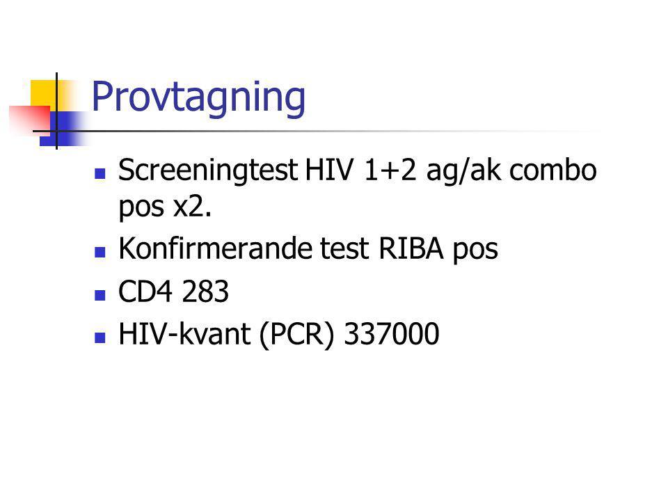 Provtagning Screeningtest HIV 1+2 ag/ak combo pos x2.