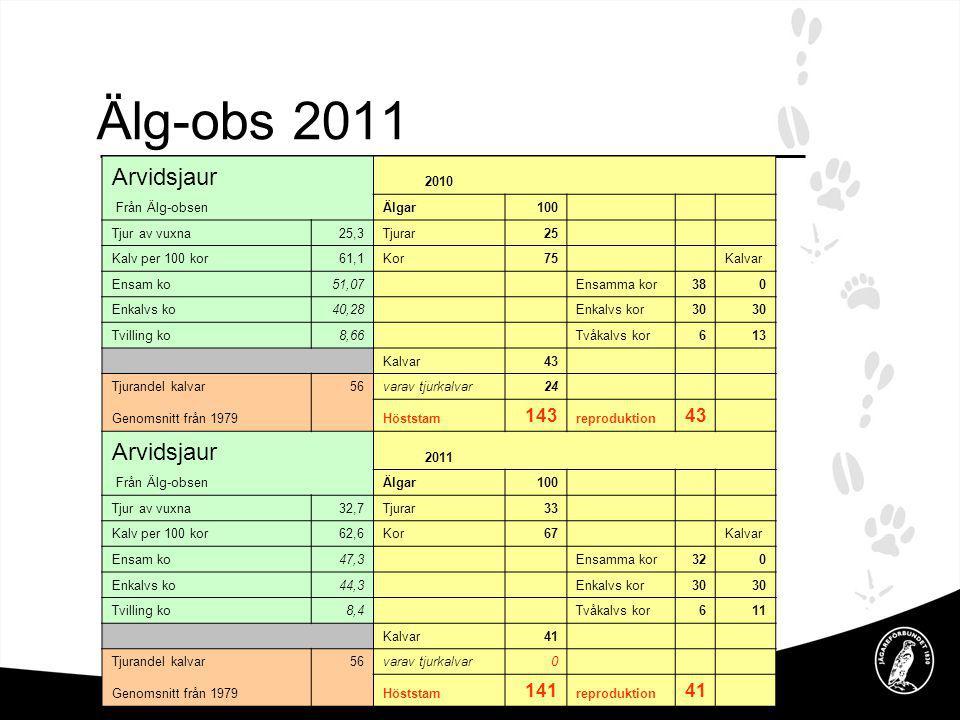 Älg-obs 2011 Arvidsjaur 143 141 2010 Från Älg-obsen Älgar 100