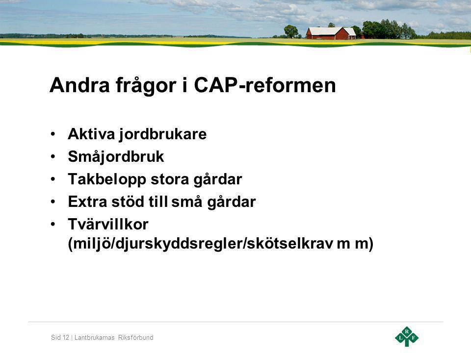 Andra frågor i CAP-reformen