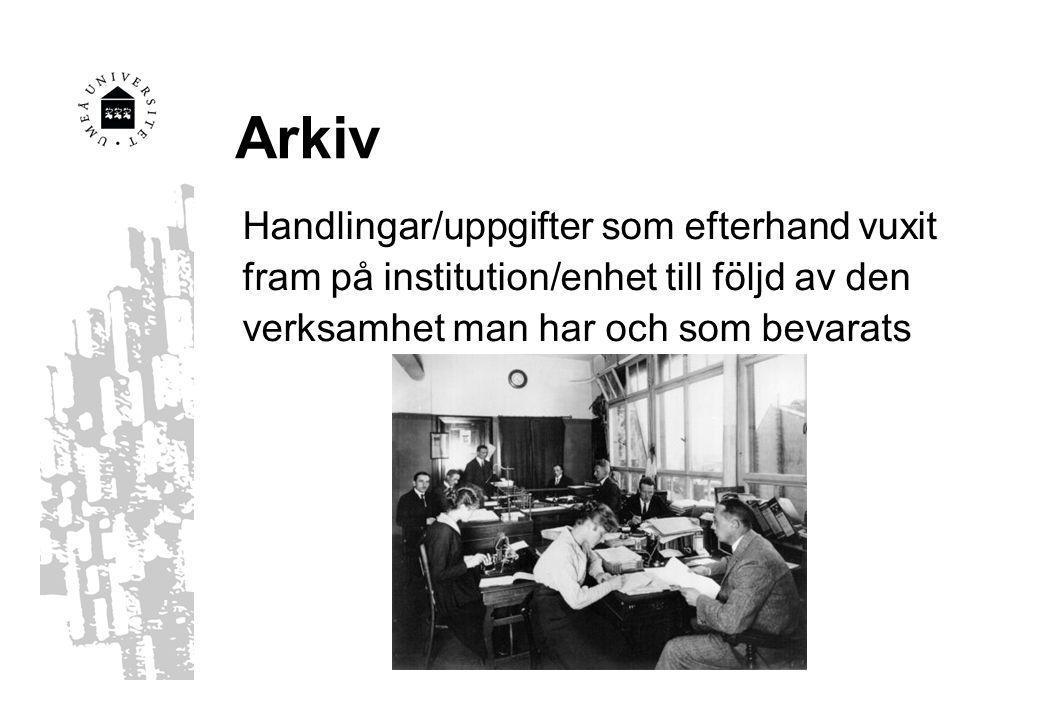 Arkiv Handlingar/uppgifter som efterhand vuxit