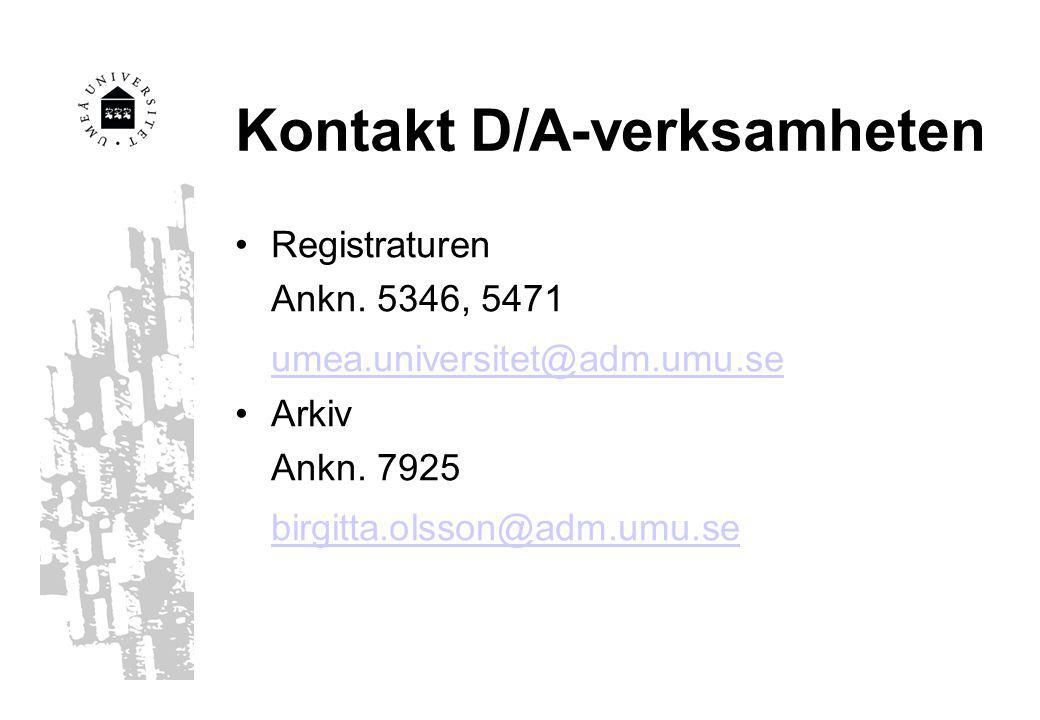 Kontakt D/A-verksamheten