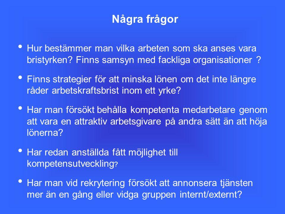 Några frågor Hur bestämmer man vilka arbeten som ska anses vara bristyrken Finns samsyn med fackliga organisationer