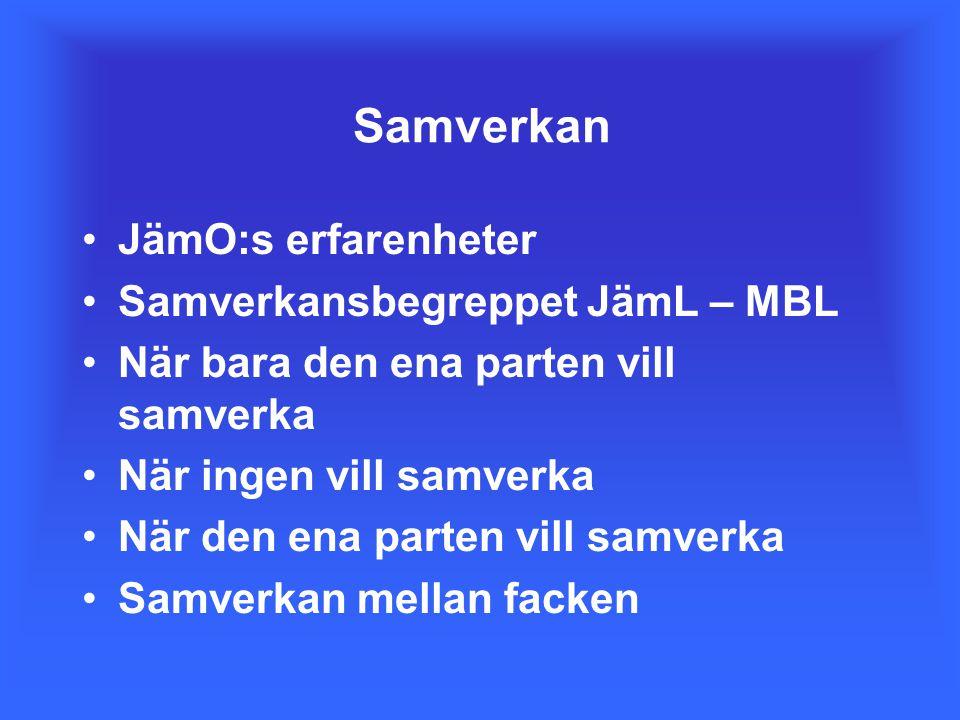 Samverkan JämO:s erfarenheter Samverkansbegreppet JämL – MBL