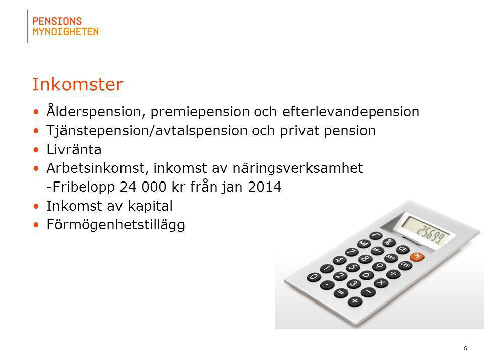 Inkomster Ålderspension, premiepension och efterlevandepension