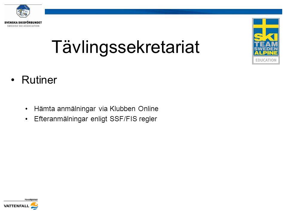 Tävlingssekretariat Rutiner Hämta anmälningar via Klubben Online