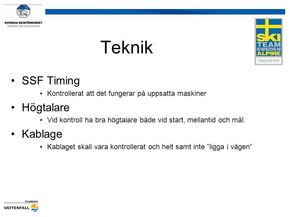 Teknik SSF Timing Högtalare Kablage