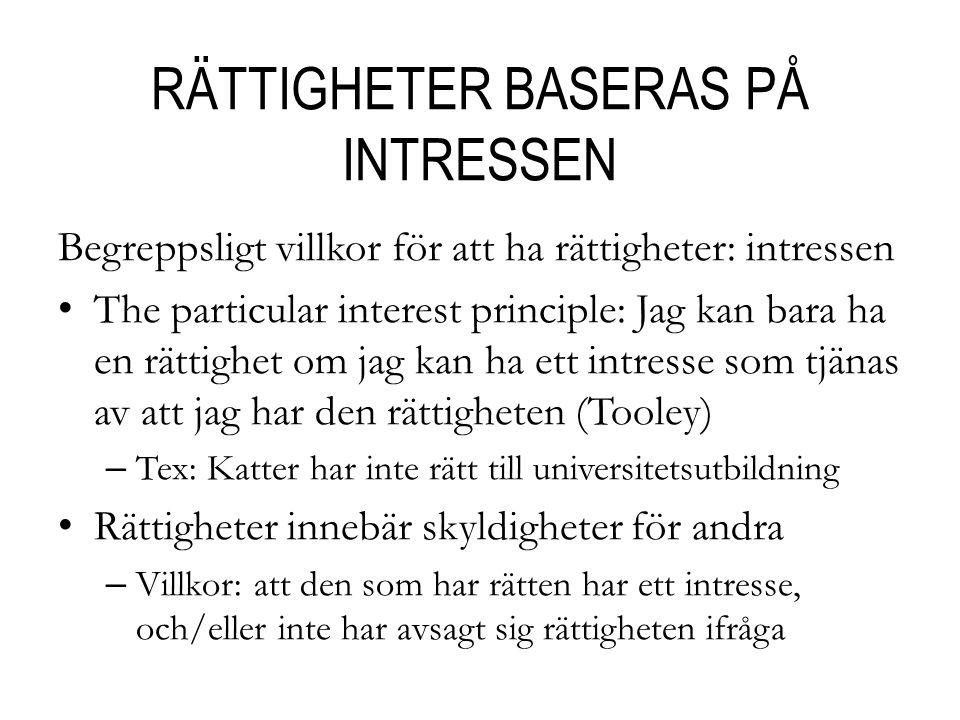 RÄTTIGHETER BASERAS PÅ INTRESSEN
