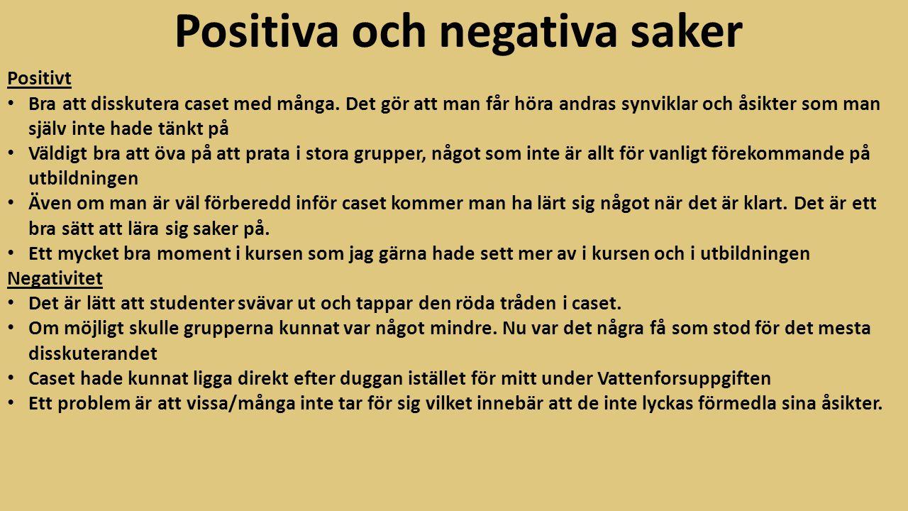 Positiva och negativa saker