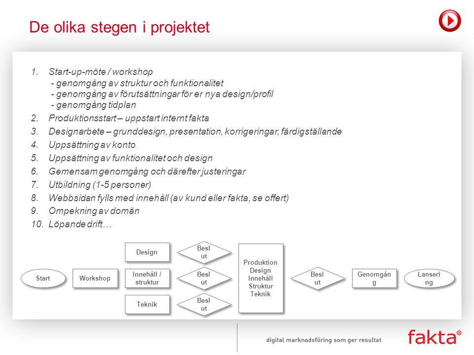 De olika stegen i projektet