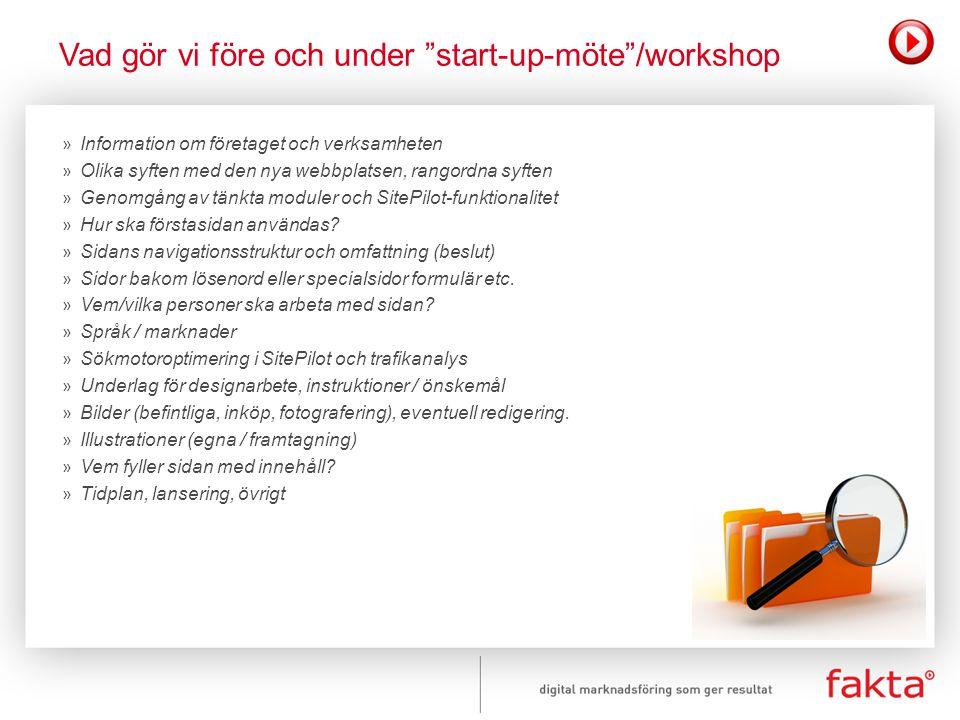 Vad gör vi före och under start-up-möte /workshop
