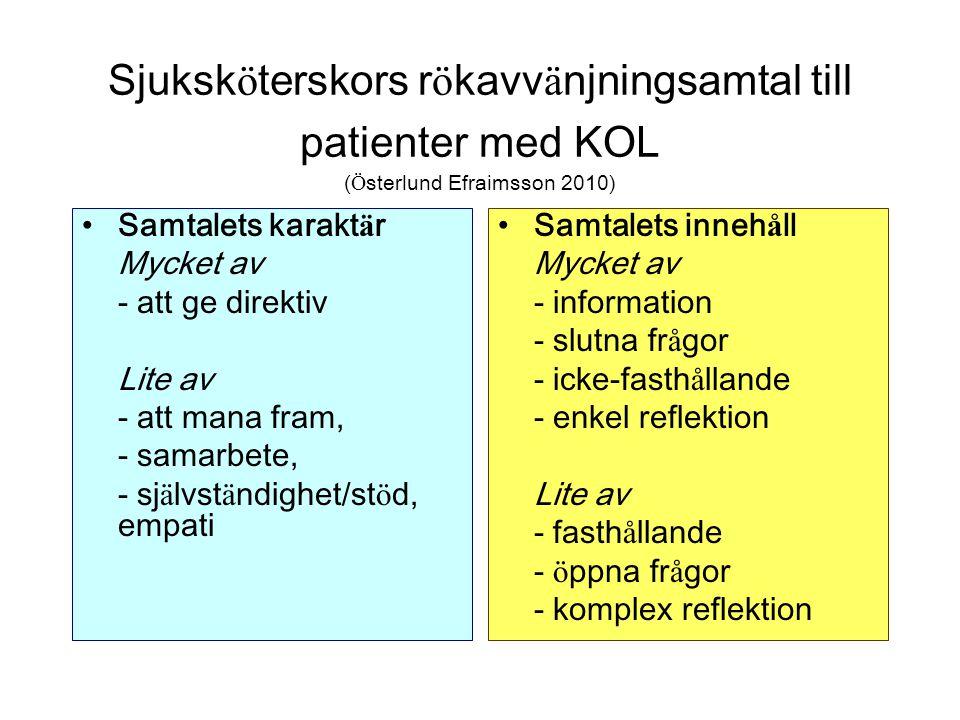 Sjuksköterskors rökavvänjningsamtal till patienter med KOL (Österlund Efraimsson 2010)